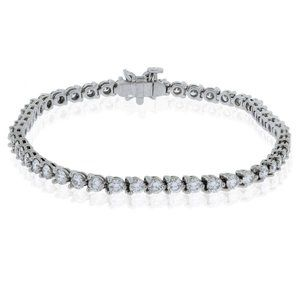 Round cut 4.15 carats diamonds Tennis bracelet whi